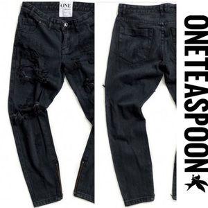 OneTeaspoon Freebird LW ZIP Ankle Black Denim